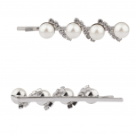 Faux Pearl Pave Crystal Hair Clips Pins Set Bridal Bride Bridesmaid.