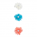 Blue Coral Ivory Chiffon Flower Hair Clip Assorted Pack 3PC