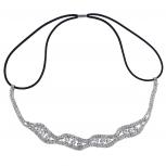 Silver Tone Crystal Pave Rhinestone Bridal Headwrap Headband