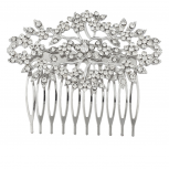 Silvertone and Rhinestone Bridal Bride Flower Vines Hair Comb