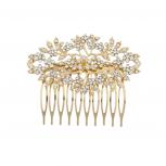 Goldtone and Rhinestone Bridal Bride Flower Vines Hair Comb