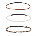 Woven Fabric Metal Chain Link Stretch Headband Set Head Band