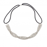 Silvertone Braided Mesh Crystal Rhinestone Stretch Headband