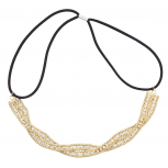Goldtone Braided Mesh Crystal Rhinestone Stretch Headband
