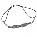 Hematite Tone Braided Mesh Crystal Rhinestone Stretch Headband
