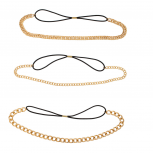 Chain Link Goldtone Stretch Headband Head Band Set