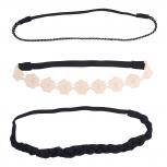 Black and Peach Lace Applique Flower Braided Headband Set 3PC