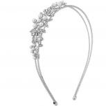 Silver Tone Crystal Rhinestone Faux Pearl Floral Coil Headband