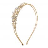 Gold Tone Crystal Rhinestone Faux Pearl Floral Coil Headband