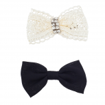 Black and White Lace Holiday Assorted Bow Clip Set 2pc