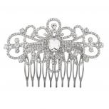 Silvertone Baroque Bridal  Rhinestone Gem Hair comb crystal pin