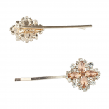 Gold Tone Special Ocasion Flower Stone Bridal Bobby Pin Set 2PC