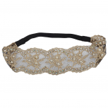 Mesh Embroidered Lace and Pearl Glitz Head wrap Stretch Headband