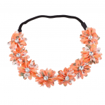 Floral Fabric Flower Peach Crystal Stretch Headband Head Band