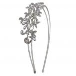 Silvertone Vintage Flower Vines Bridal Bride Hard Headband