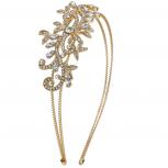 Goldtone Vintage Flower Vines Bridal Bride Hard Bling Headband