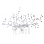 Silver Tone Pave Pearl Bridal Bride Floral Vine Hair Comb