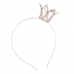 Rose Gold Tone Faux Rhinestone Tilted Side Tiar Crown Headband