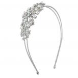 Silver Tone Crystal AB Rhinestone Faux Pearl Coil 2 Row Headband