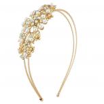 Gold Tone Crystal AB Rhinestone Faux Pearl Coil 2 Row Headband