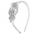 Silver Tone Crystal Rhinestone Faux Pearl 2 Row Coil Headband