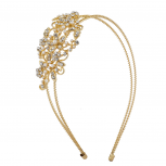 Gold Tone Crystal Rhinestone Faux Pearl 2 Row Coil Headband