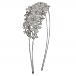 Silvertone and White Flower Floral Bride Bridal  Hard Headband