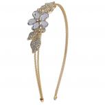 Goldtone Flower and Crystal Leaves Bride Bridal Hard Headband
