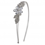 Silvertone Flower and Crystal Leaves Bride Bridal Hard Headband