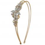 Goldtone Caviar Glitter Flower Floral Bride Bridal Hard Headband