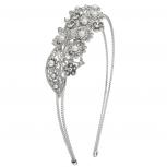 Silvertone Pearl Pave Flower Floral Bride Bridal Hard Headband