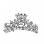 Silver Tone Rhinestone Filigree Hair Claw Clip Hair Accessories