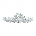 Silver Tone Bridal Faux Pearl Rhinestone Mini Crown Hair Comb