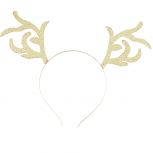 Gold Tone Glitter Christmas Holiday Xmas Reindeer Headband