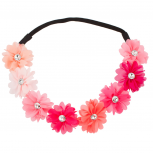 Multi Color Peach Pink Rainbow Floral Flower Crystal Stretch Headband Head Band