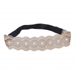 Tan and Faux Pearl Lace Applique Stretch Headband Head Wrap
