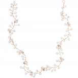 Rose Gold Tone Faux Pearl Bridal Birds Breath Wire Hair Vine