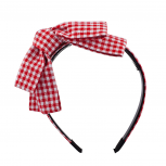 Red Gingham bow hard headband