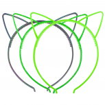 Shades of Green Cat Ear Headband For Girls Party Favor Set 3PC