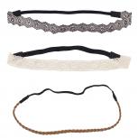 Boho Grey Brown Stretch Head Wrap Headband Assorted Set 3PC