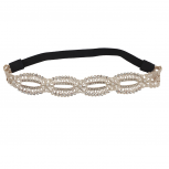 Ivory Pearl Crystal Stone and Studs Open Lace Head wrap Headband