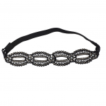 Black Pearl Crystal Stone and Studs Open Lace Head wrap Headband