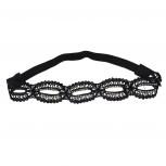 Black on Black Crystal Stone Studs Open Lace Head wrap Headband