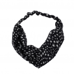 "Black ""Stars"" Knotted Head wrap"