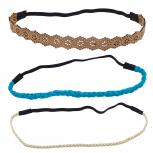 Boho Tan Turquoise Stretch Head Wrap Headband Assorted Set 3PC