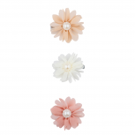 Peach Ivory Pink Pearl Chiffon Flower Hair Clip Assorted set 3PC