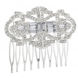 Silvertone Bling Baroque Style Pave Bride Bridal Metal Hair comb