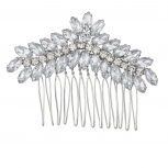 Silvertone Pave and Crystal Floral Shaped Bridal Bride Hair comb