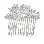Silvertone Flower Stone Pearls and Glitz Bride Bridal Hair comb