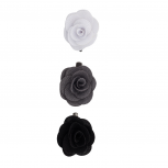 Fabric Flower Clips Black White (3PC)